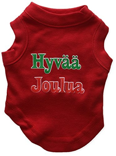 Mirage Pet Products 8-Inch Hyvaa Joulua Screen Print Shirts for Pets, X-Small, Red by Mirage Pet Products
