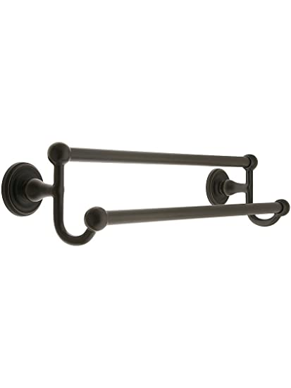 30 Brass Double Towel Bar With Regular Rosettes In Oil Rubbed