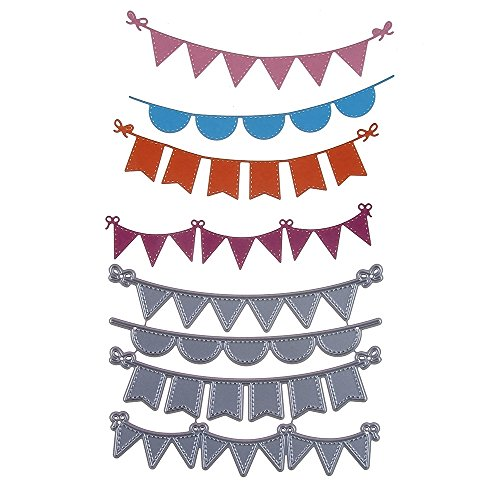 SMALL-CHIPINC - 122x97mm Birthday Banner Metal Cutting Dies Template DIY Scrapbooking Embossing Photo Paper Card Decoration Die Craft