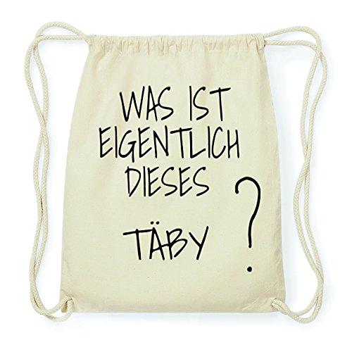 JOllify TÄBY Hipster Turnbeutel Tasche Rucksack aus Baumwolle - Farbe: natur Design: Was ist eigentlich diJwAp
