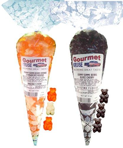 Energy Orange White Strawberry Banana And Black Cherry Gummy Gummi Bears (NET WT 22 OZ) Gourmet Kruise Signature Gift Bags