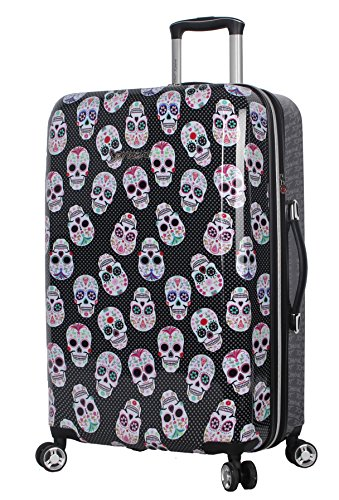 """BETSEY JOHNSON Skull Party 26"""" Expandable Hardside Checked Spinner Luggage"""