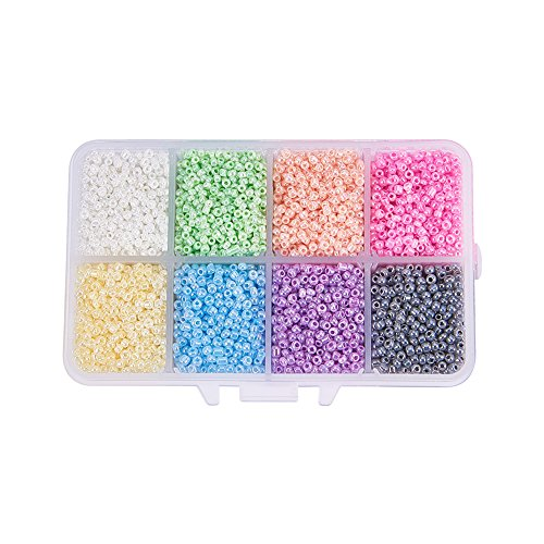 (Pandahall 1 Box (About 8000pcs) 12/0 Mixed Color Glass Seed Beads Ceylon Round Loose Spacer Beads, 2mm)