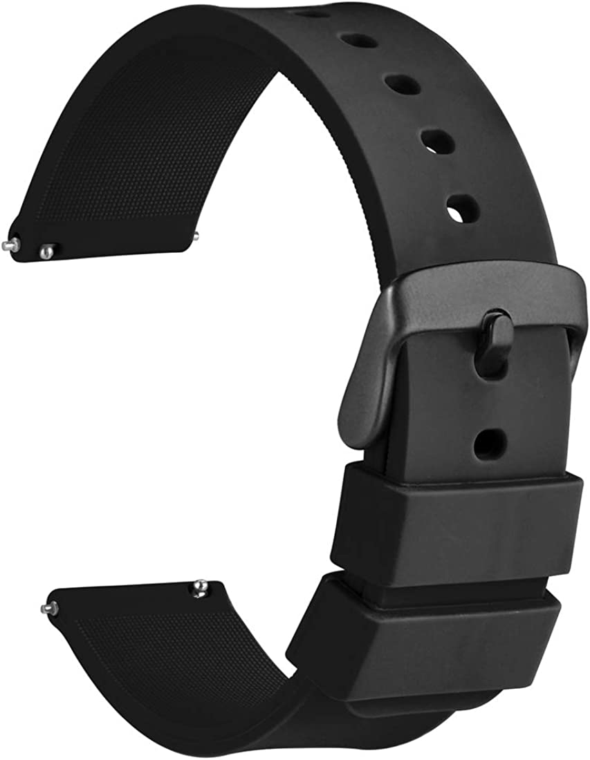 WOCCI Silicone Watch Bands with Black Buckle - Quick Release Soft Rubber Replacement Straps 14mm 18mm 20mm 22mm 24mm