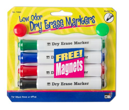 charles-leonard-4-barrel-dry-erase-markers-comes-with-2-free-magnets-assorted-colors-1-card-76860