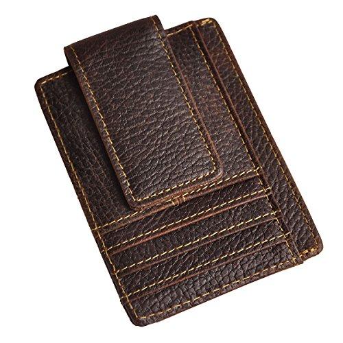 Le'aokuu Genuine Leather Magnetic Front Pocket Money Clip Slim Wallet Card Case (Dark Brown (Dark Brown Mens Wallets)