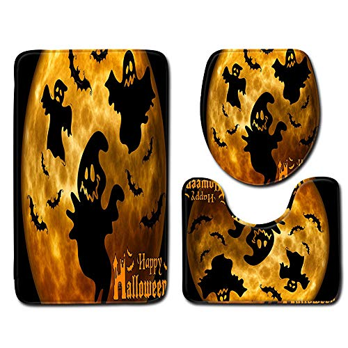 Halloween Decor Package Clearance KIKOY Toilet Seat Cover and Rug Bathroom Set -