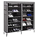 afferty 6 Layer 12 Grid Portable Shoe Rack Shelf Storage Organizer Cabinet for 30 Pairs Shoes(US STOCK)