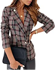 Women Skinny Suit V-Neck Lapel Double-Breasted Plaid Coat Winter Trench Plaid Blazers