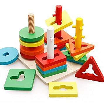 Mayatras Educational Wooden Building Blocks Four Column Pillar Shape Matching Geometric Puzzle