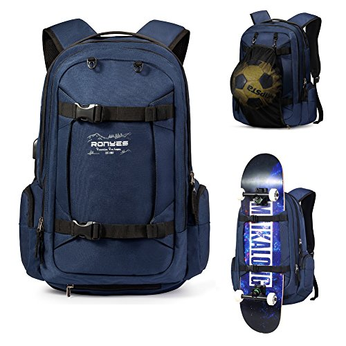 Skateboard Backpack Basketball Baseball Football Rugby Ball Soccer Ball Multi-function Water Resistant Backpack With USB Port Basketball Net Fits 17.3 Inch Laptop (Blue)