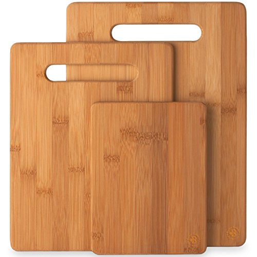 (Natural Bamboo Cutting Board Set of 3 Kitchen Chopping Boards Wooden Cutting Boards for Serving Food)