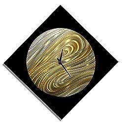Black, Silver & Gold Modern Metal Wall Clock - Handmade Functional Abstract Art - Contemporary Home Decor - Moon Safari Clock by Jon Allen - 24 x 24