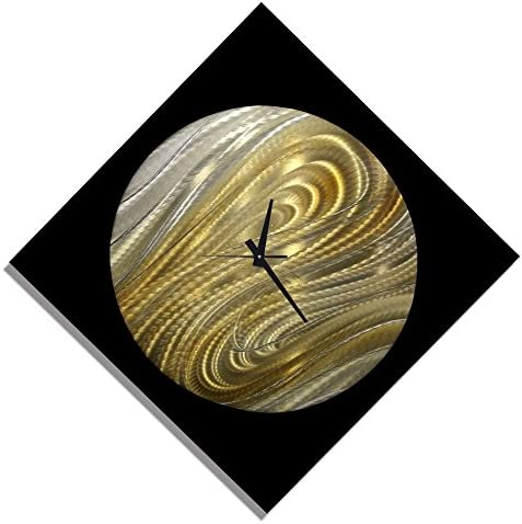 Statements2000 Black, Silver Gold Modern Metal Wall Clock – Handmade Functional Abstract Art – Contemporary Home Decor – Moon Safari Clock by Jon Allen – 24 x 24
