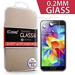 iCarez for Samsung Galaxy S5 [ Thinnest Tempered Glass ] 0.2MM Highest Quality Premium Anti-Scratch Bubble-free Reduce Fingerprint No Rainbow Washable Screen Protector Easy Install Product [1-Pack,0.2mm] - Retail Packaging 2014