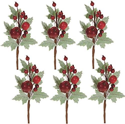 STEFANAZZI 6 Pezzi Lunghezza 16 cm Pick con Foglie ghiacciate Mela e Bacche Rosse per Natale Fai da Te Decorazioni per Albero di Natale o Come Rami Decorativi