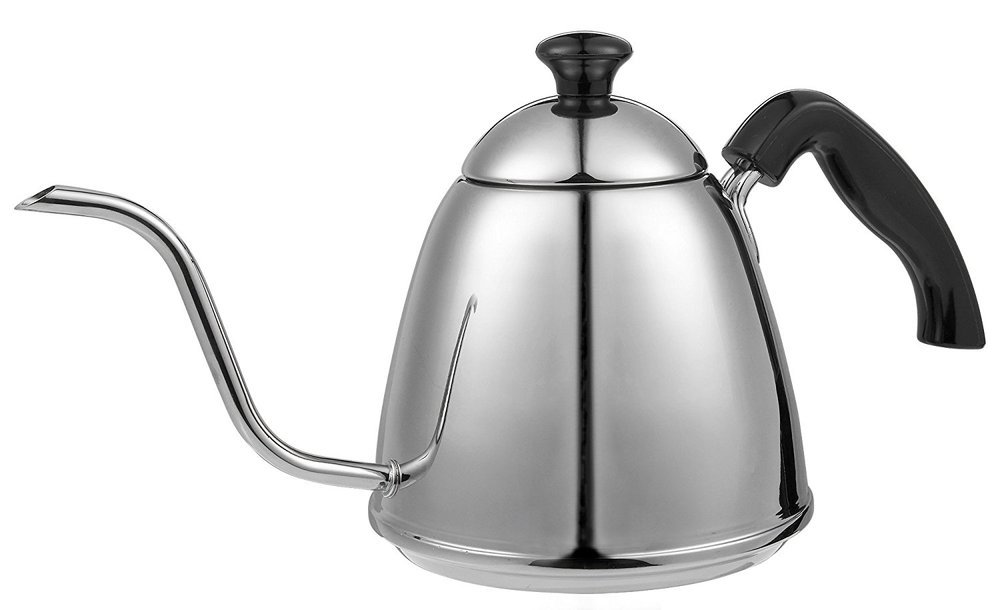 Stainless Steel Pour Over Coffee and Tea Drip Kettle with Gooseneck Spout for Precise Pouring - Perfect for Baristas and Home Use - Holds 0.9 Liters / 4 Cups