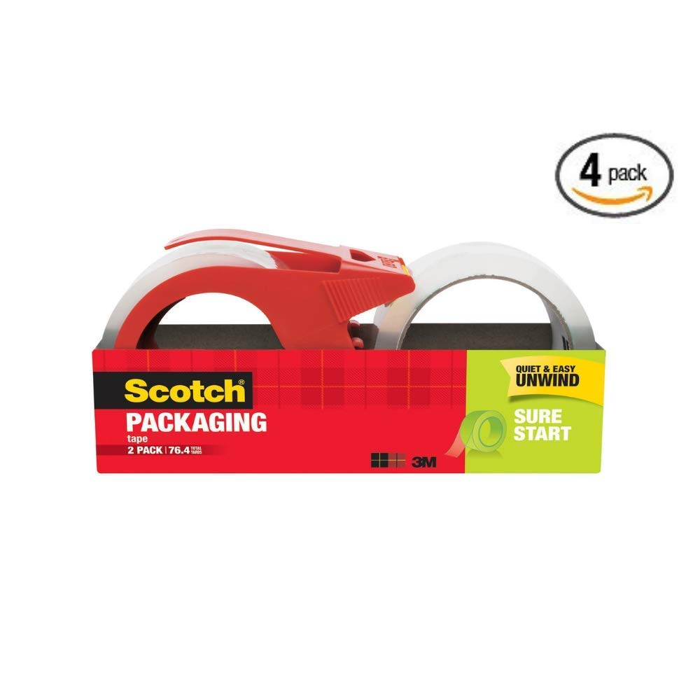 Scotch Sure Start Shipping Packaging Tape Dispenser Value Pack, 1.88 in. x 38.2 yd, 2 Count, (8 Rolls) - Pack of 4 by Scotch Brand
