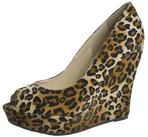 Lora Dora Womens Faux Suede Peep Toe Wedge Shoes Platforms Size UK 3-8 Leopard v4udt