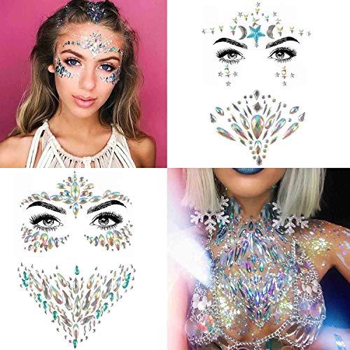 COKOHAPPY 4 Sets Rhinestone Mermaid Face & Breast Jewels Tattoo - Star Body Stickers Crystal Tears Gem Stones Bindi Temporary Stickers ()