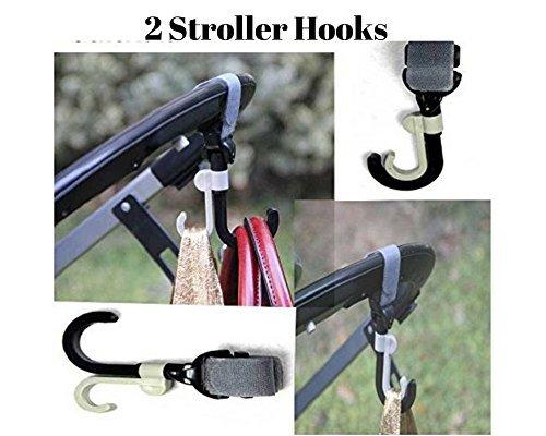 Freshline - 2 ganchos para carriola de bebé con gancho para mamá, accesorios para colgar pañales y bolsa de cesta, bolso...
