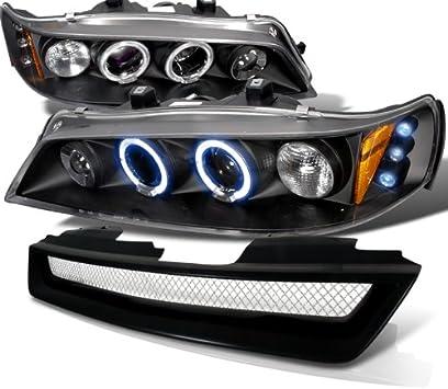 Amazon Com Spec D Tuning For Honda Accord Lx Ex Black Led Halo Projector Headlights Black Grille Automotive