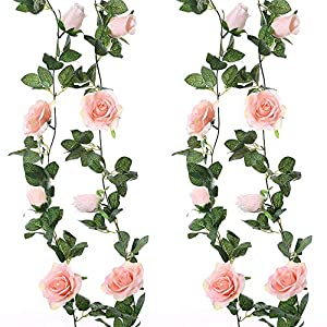 MARJON Flowers1Pcs Artificial Silk Flower Fake Rose Vine Flowers Plants Hanging Rose Ivy Home Hotel Office Wedding Party Garden Decor (Light Pink) 118