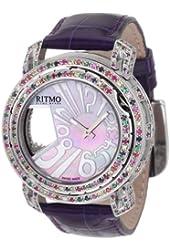 Ritmo Mundo Women's D204/3 SS Multi Diamond Persepolis Dual-Time Orbital Case Quartz Watch