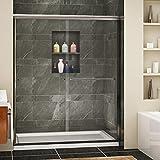 SUNNY SHOWER Framless Shower Door Double Sliding Design Bathroom Shower Enclosure 1/4' Clear Glass, Brushed Nickel Finish, 60' x 72'