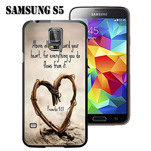 (S5 Case Samsung Galaxy S5 Black Cover TPU Rubber Gel - Christian Quote Above all Else,Guard Your Heart,For Everything You do Flows From it.Proverbs 4:23)