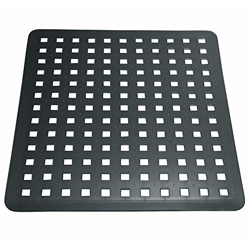 InterDesign Euro Kitchen Sink Protector Mat, Regular, Black 11in x 12.5in (28cm x 31.8cm)