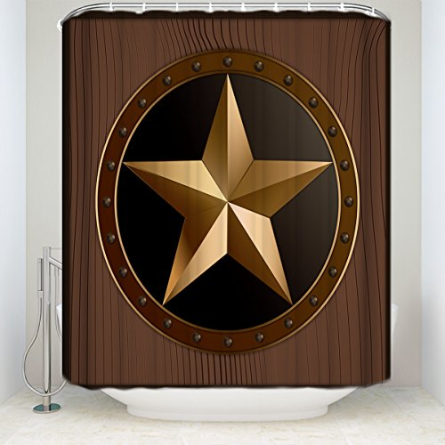 (Z&L Home Western Texas Star Shower Curtain Sets with Hooks Brown Color Mildew Resistant Polyester Fabric 72x84Inches)