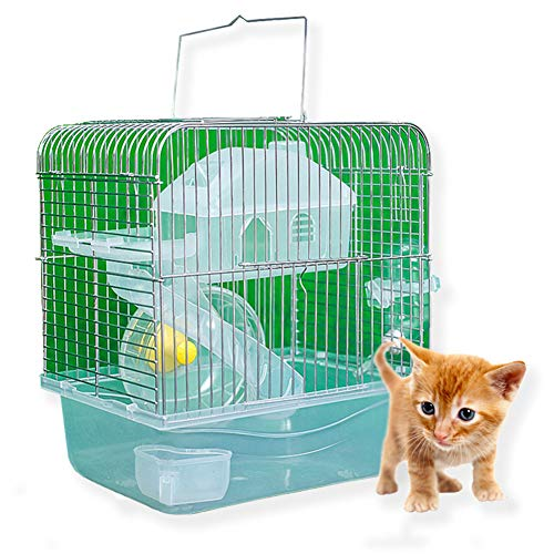 Ocamo Stainless Steel Pet Cage Transparent Crystal Color Hamster Cottage Double Layer House for Hamster Golden Hamster Pet