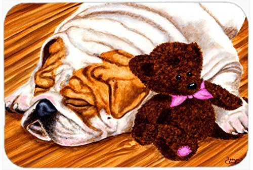 Multicolor Carolines Treasures AMB1003CMTEnglish Bulldog and Teddy Bear Kitchen or Bath Mat 20 H x 30 W