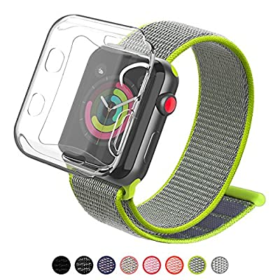 YIUES Compatible with Apple Watch Band 38mm 42mm with Case, Soft Breathable Lightweight Nylon Sport Loop, Adjustable Sport Loop Band Compatible with Apple Watch Series 3/2/1 by YIUES