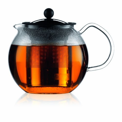 Bodum ASSAM Teapot, Glass Teapot with Stainless Steel Filter, 34 Ounce