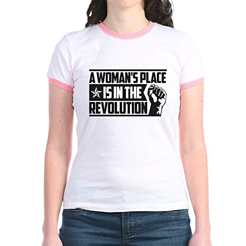 CafePress - Womans Place in Revolution - Jr. Ringer T-Shirt, Slim Fit 100% Cotton Ringed Shirt Pink/Salmon ()
