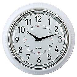CTG, Decorative Round Retro Wall Clock, 9.5 inches, White