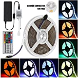 iRofa 5M LED Flexible Strip Light 300 LEDs 5050 SMD RGB Color Changing Waterproof 16.4FT LED Strip Light with 4 Sets Corner Connector Flexible Rope Lighting and 44 Key IR Remote 12V 5A Power Adapter