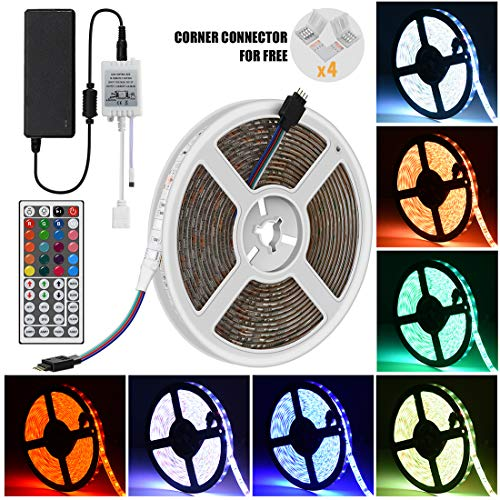 iRofa 5M LED Flexible Strip Light 300 LEDs 5050 SMD RGB Color Changing Waterproof 16.4FT LED Strip Light with 4 Sets Corner Connector Flexible Rope Lighting and 44 Key IR Remote 12V 5A Power Adapter by iRofa