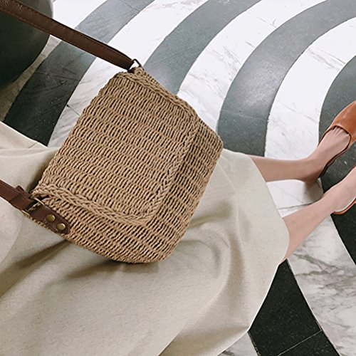 Vintage Rectangular Chic Straw Bags Brown Hand Natural Sunmmer Bag Beach Womens Peerless Crossbogy woven Vacation z5dqz