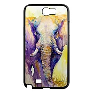 DIY Cover Case with Hard Shell Protection for Samsung Galaxy Note 2 N7100 case with Colorful Elephant lxa#272476