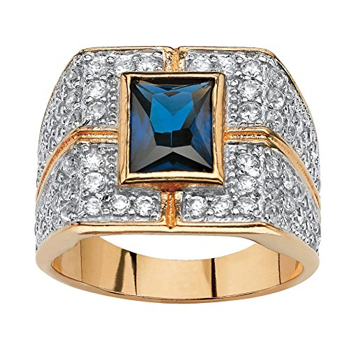 Palm Beach Jewelry Men's Genuine Midnight Blue and White CZ 14k Gold-Plated Bezel-Set Classic Ring Size 8