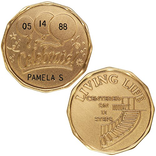 Personalized Custom Engraved (Name & Date) - Celebrate Living Life - Center On 12 Steps - Bronze AA (Alcoholics Anonymous)-ACA-AL-ANON-Sober-Sobriety-Birthday-Anniversary-Recovery-Medallion-Coin-Chip