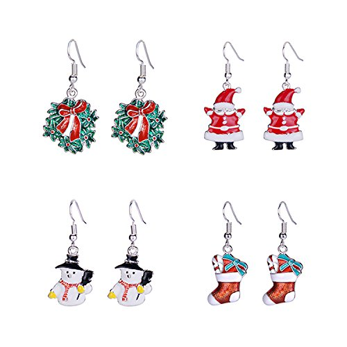 Christmas Drop Dangle Earrings Set - Women Girls Kids Christmas Holiday Jewelry Gifts with Santa Claus Stockings Snowman Wreath Xmas Hat Snowflake Christmas Tree Jingle Bells