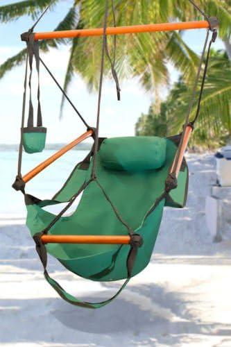 Hammock Outdoor Bay Garden Hanging Chair Air Deluxe Sky Swing Outdoor Chair Solid Wood 250lb Green