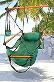 Hammock Outdoor Bay Garden Hanging Chair Air Deluxe Sky Swing Outdoor Chair Solid Wood 250lb Green For Sale
