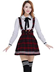 bc46501e1c Nuotuo Womens Japanese High School Uniform Sailor Pleated Skirt Outfit