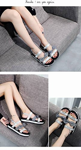 Harajuku Moda Tac Romanos de Sandalia Gruesa Cabeza Fondo Arco Plano Zapatos Adulto Redonda Estudiante Sandalias Suela Goma Mujer Rhinestone OBqFwtBU