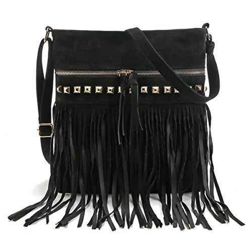 LUI SUI-Euramerican Celebrity Fringe Women Handbag Tassel Shoulder Bag Fashion ToteCr47 (New ()